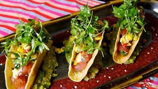 Mini tuna tacos are one option at Mercado