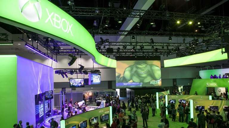 A view of the Microsoft XBox booth at