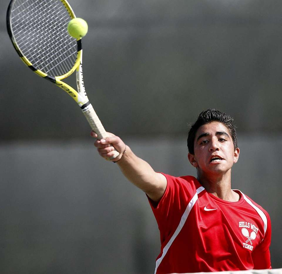 Hills West first singles player Aziz Rashidzada hits