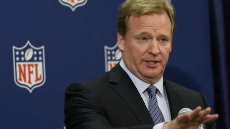 NFL Commissioner Roger Goodell speaks during a news