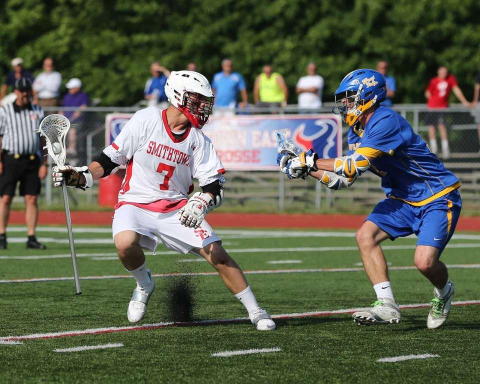 Smithtown East's John Daniggelis #7 cuts back against