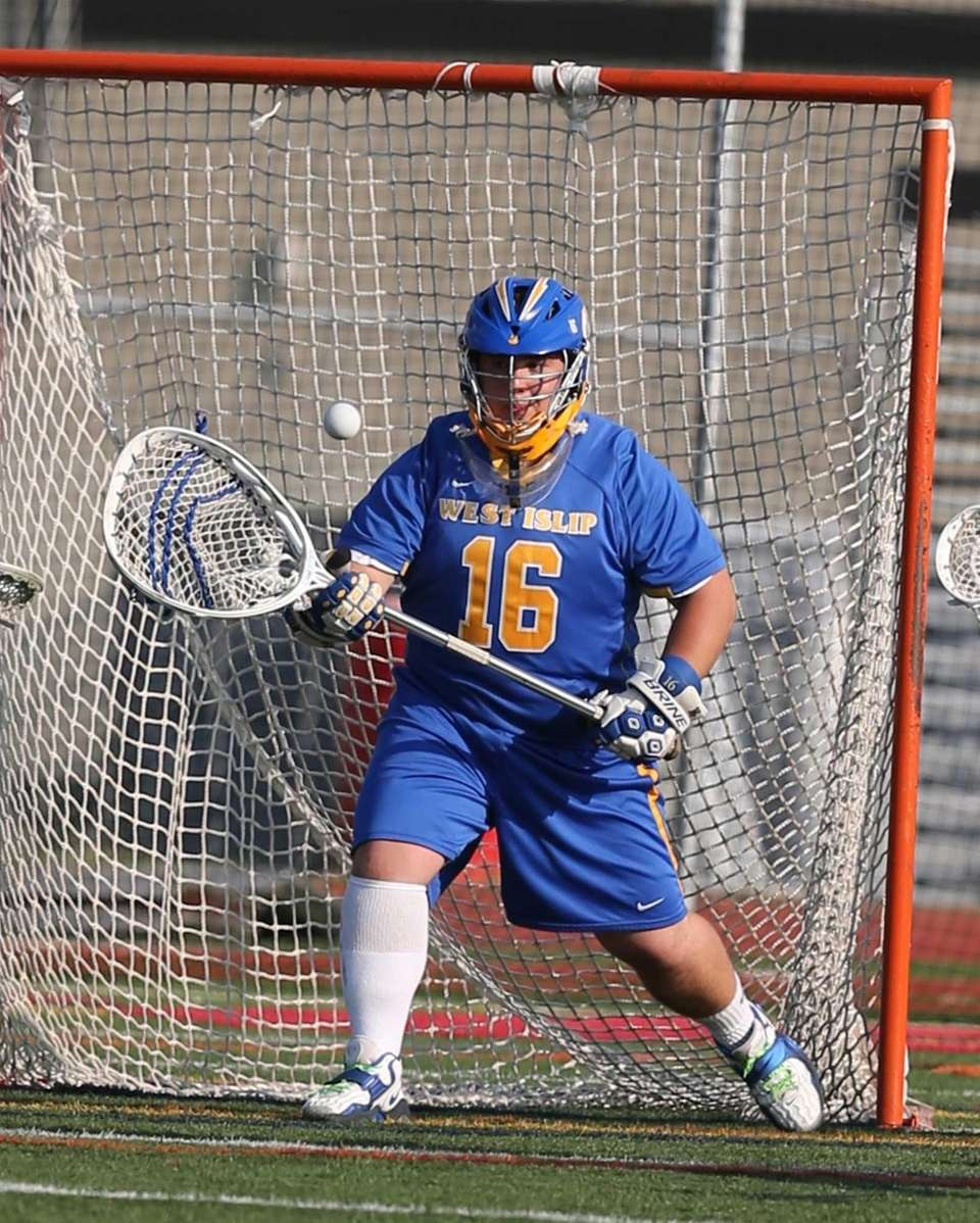 West Islip goalie Jared Carrino makes a save