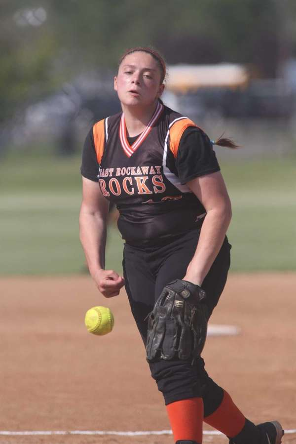 East Rockaway's Gianna Cilluffo delivers a pitch during