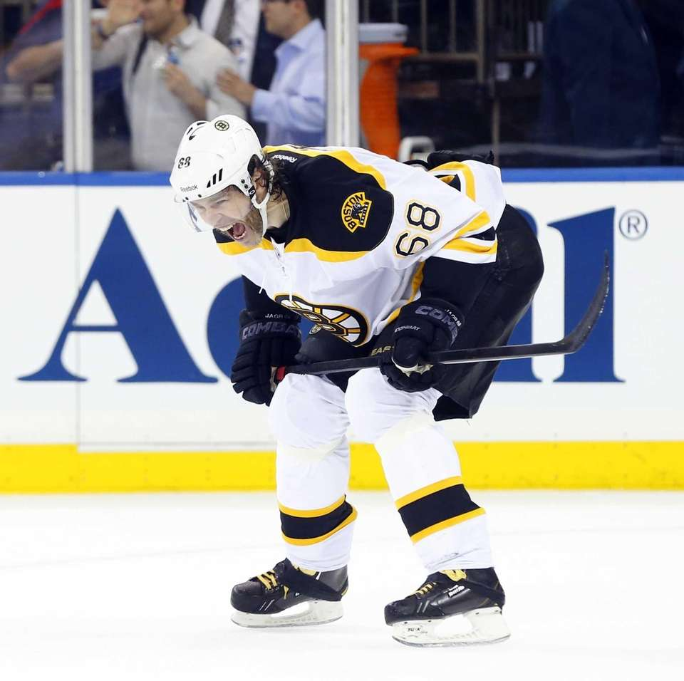 Jaromir Jagr #68 of the Boston Bruins reacts