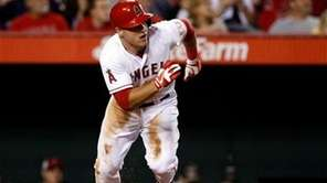 Los Angeles Angels outfielder Mike Trout races from