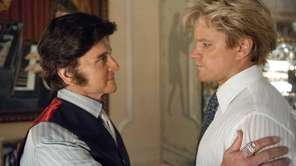 Michael Douglas, left, as Liberace, and Matt Damon,