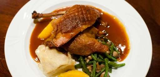 The classic French dish duck a l'orange is