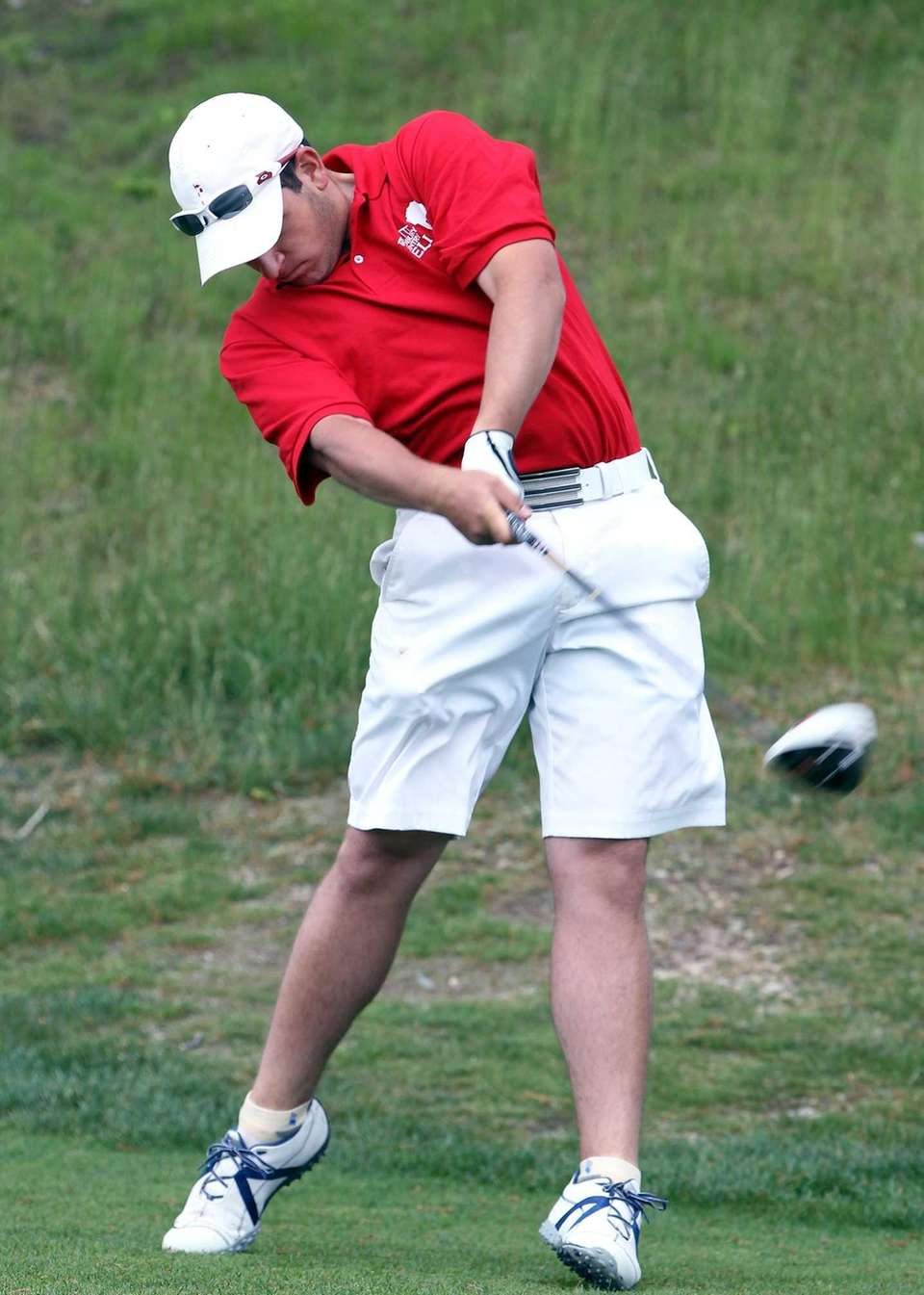 Cold Spring Harbor's Chris Gabrielle hits a drive