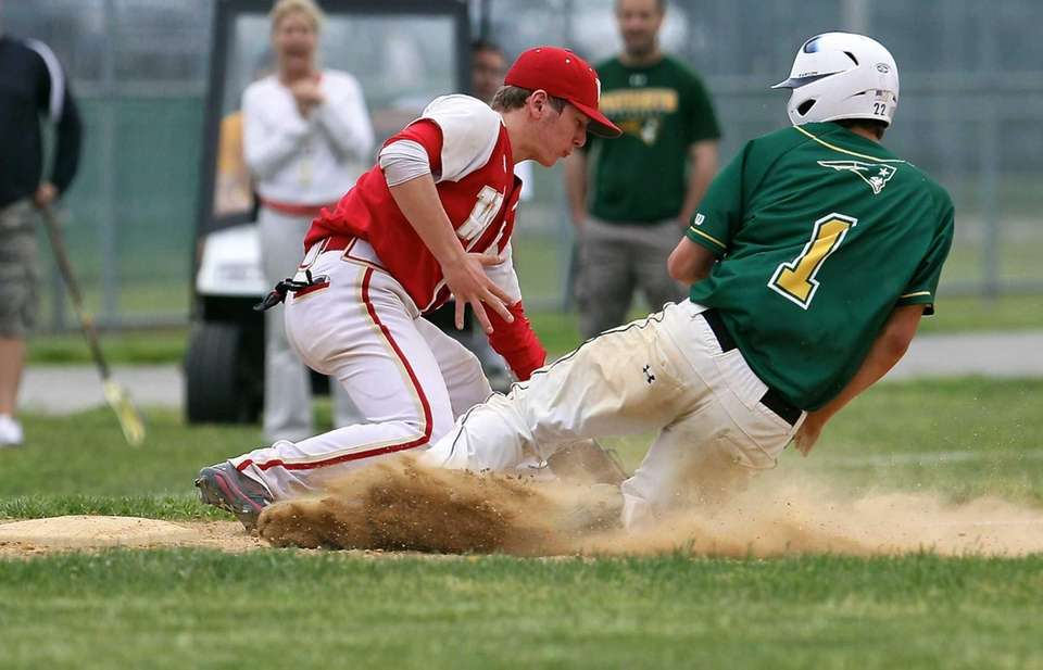 Ward Melville's Anthony Kay slides safely into third