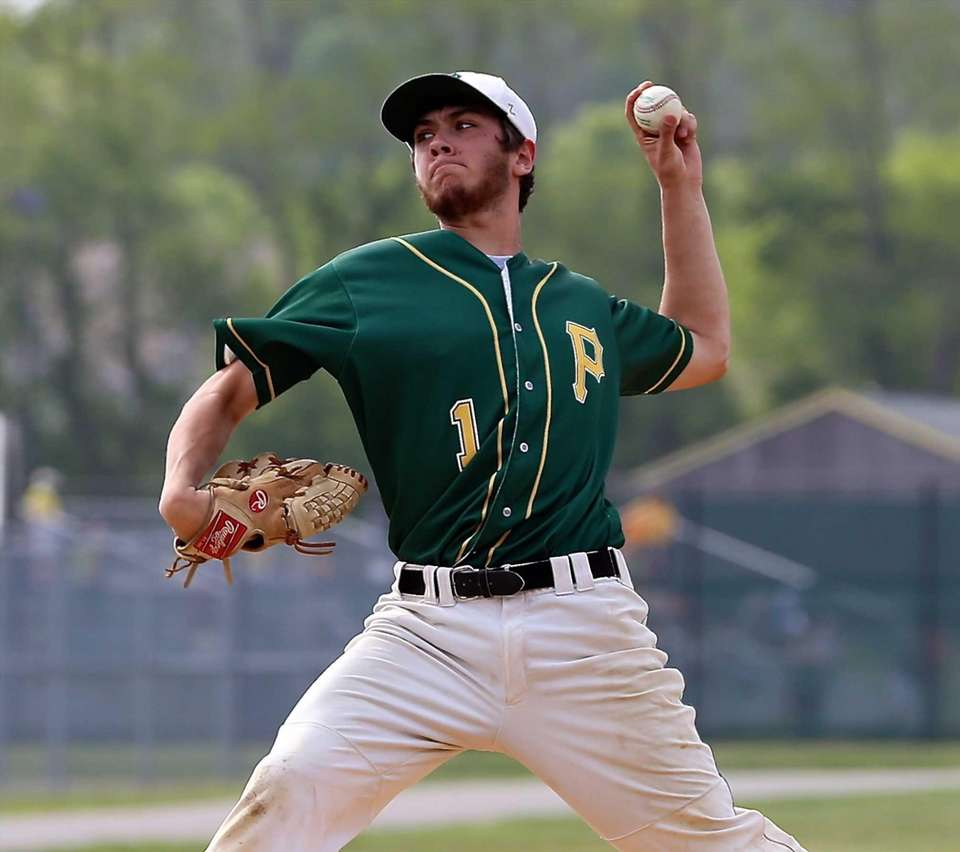 Ward Melville starting pitcher Anthony Kay delivers in