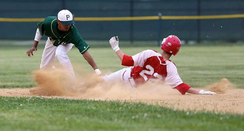 Hills West's Jonah Glickstein gets tagged out by