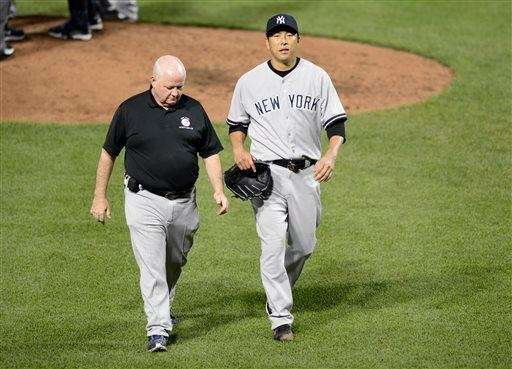 Hiroki Kuroda exits with an injury during the