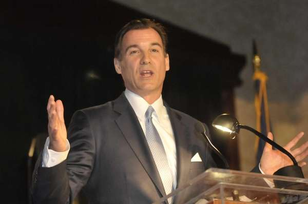 Nassau County Executive candidate Tom Suozzi speaks during