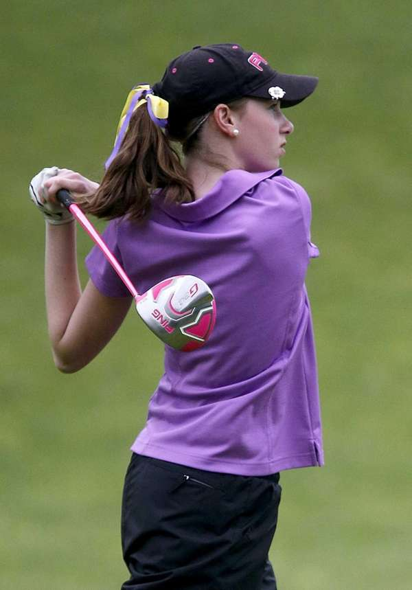 Sayville's Shannon Haselton hits her tee shot on