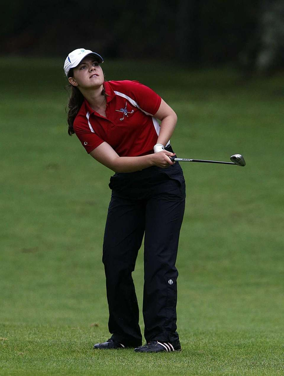 Smithtown East's Cassie Hall follows the flight of