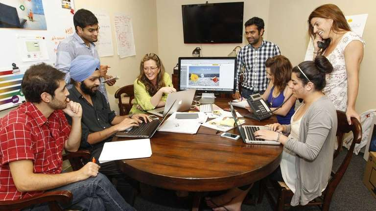 Buncee founder Marie Arturi, fourth from left, with