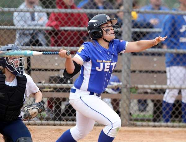 East Meadow's Marisa Sanantonio hits a double against