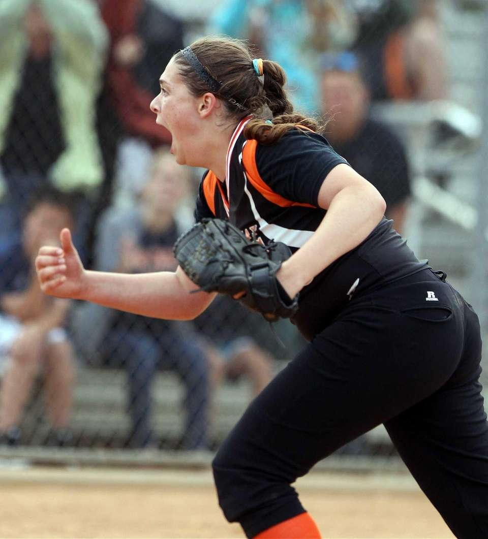 East Rockaway's pitcher Gianna Cilluffo reacts to the