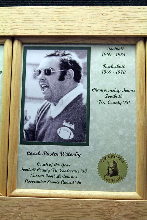 A plaque of former Seaford football coach Buster