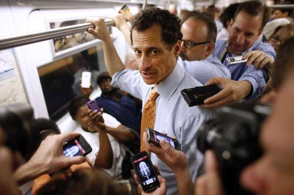 New York City mayoral hopeful Anthony Weiner speaks