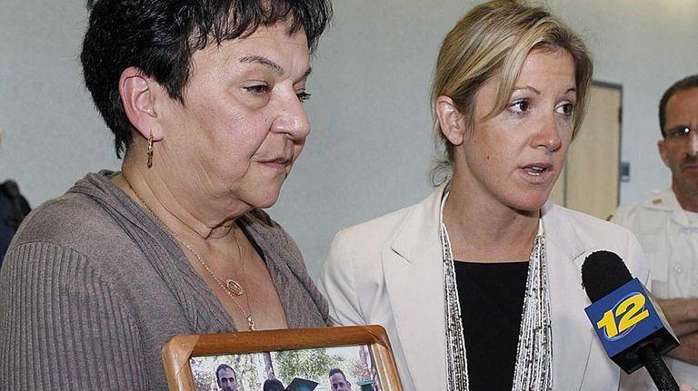 Victim Christopher Mannino's mother Francine Faraone, left, and