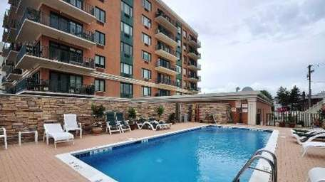 The pool area of the The Meridian condominium