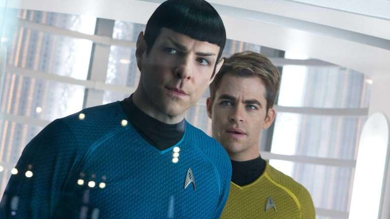 Zachary Quinto, left, as Spock and Chris Pine