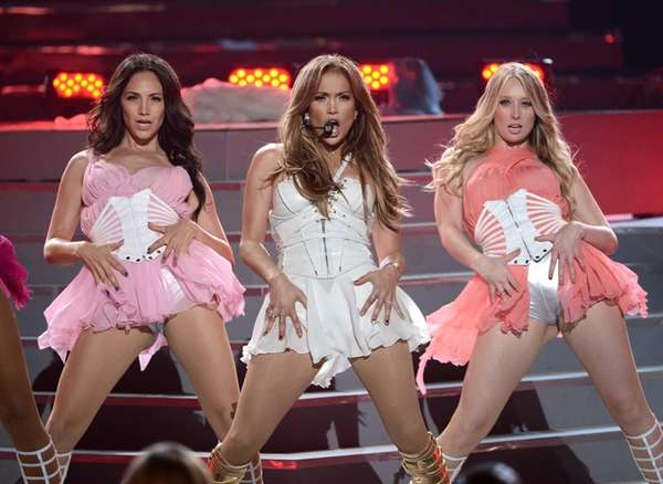 "Former ""Idol"" judge Jennifer Lopez, center, performs during"