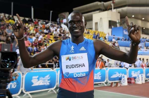 Kenya's David Rudisha celebrates after winning the men's