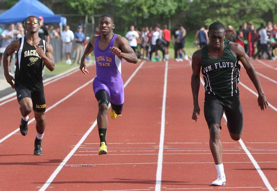 Isiah Lawson of William Floyd wins the 100