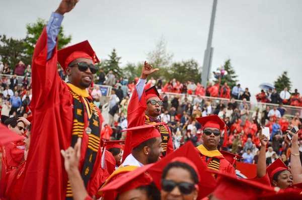 Students cheer during the Stony Brook University graduation