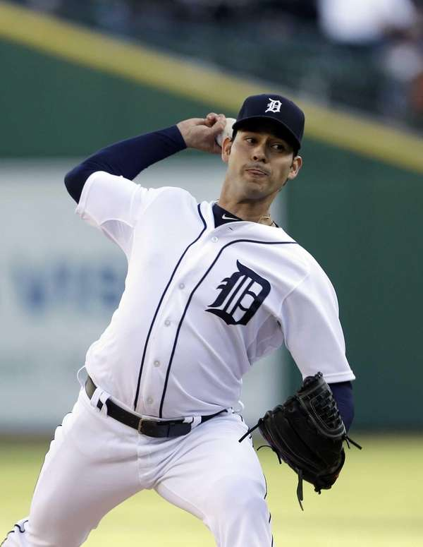 Detroit Tigers starting pitcher Anibal Sanchez throws during