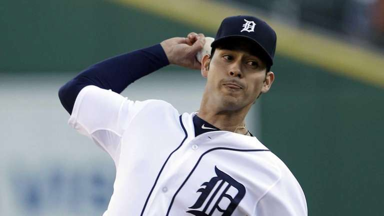 Detroit Tigers starting pitcher Anibal Sanchez throws during