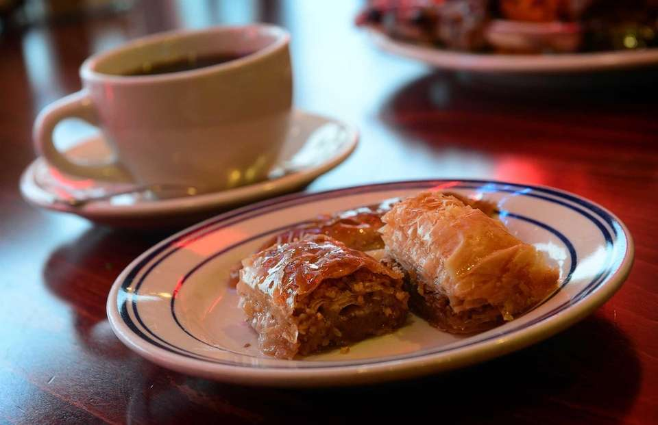 Istanbul Cafe's trio of Turkish desserts includes sobiyet,