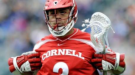 Cornell's Rob Pannell celebrates after scoring a goal