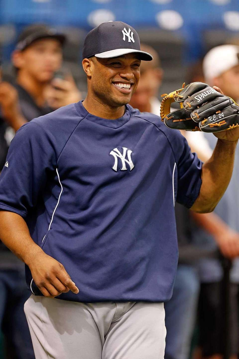 Infielder Robinson Cano of the Yankees smiles as