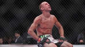 Donald Cerrone reacts after finishing a lightweight mixed