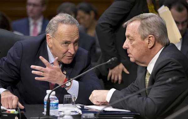 Senate Judiciary Committee members Sen. Chuck Schumer, left,