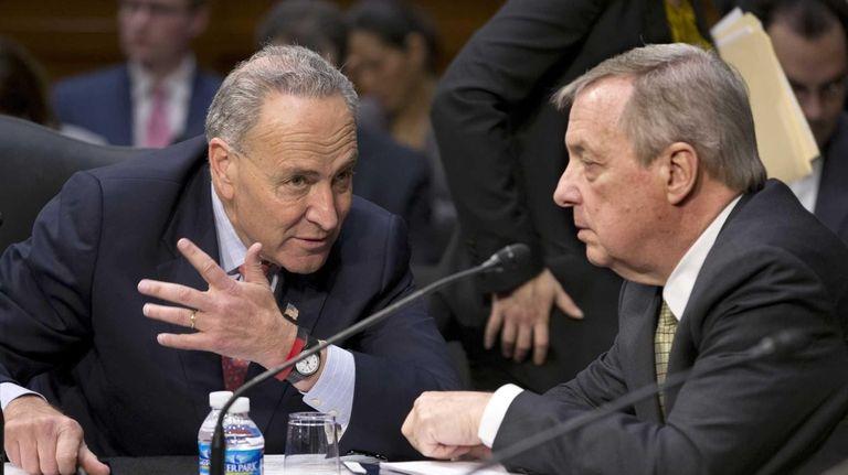 Senate Judiciary Committee members Sen. Chuck Schumer, left,