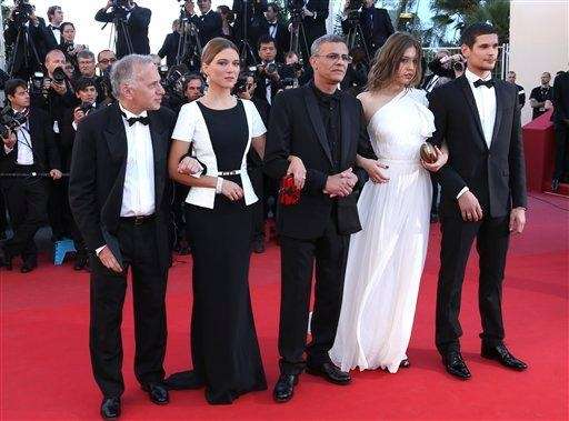 From left, producer Brahim Chiqua, actress Lea Seydoux,