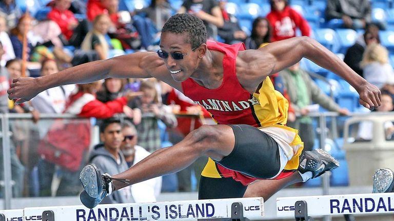 Chaminade's Javaun Porter takes the 110m Hurdles in