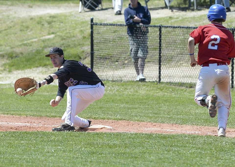 Sayville's Ryan Welch makes the play at first