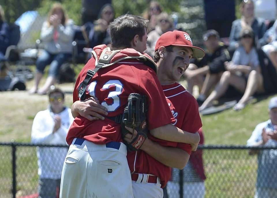 Miller Place's Cody McPartland celebrates with his catcher