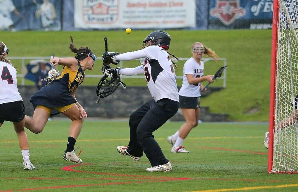 Mt. Sinai goalie Julia Michaels makes the save