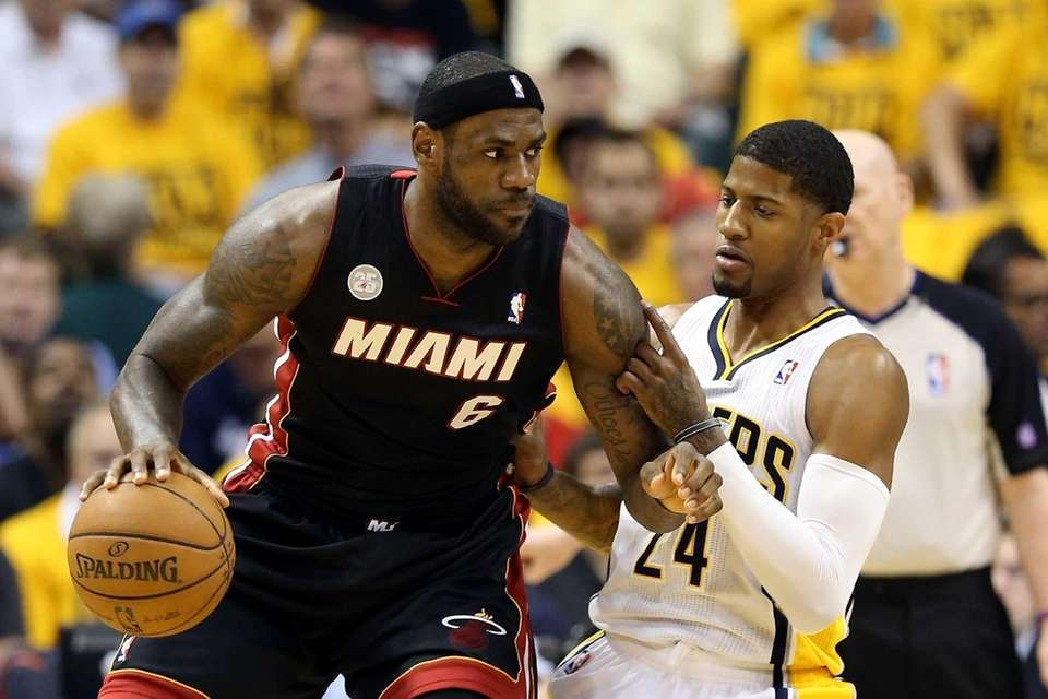 LeBron James of the Miami Heat dribbles the