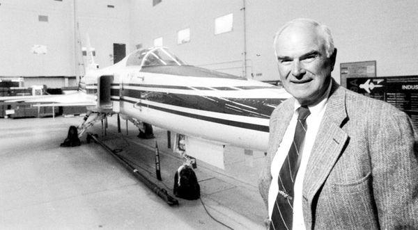 Chairman John Bierwirth with Grumman's new X-29 fighter