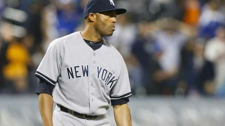 Mariano Rivera of the Yankees looks on after