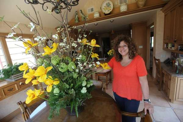 Jamie Silver's kitchen table sports a vibrant bouquet