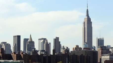 The Empire State Building is shown in midtown