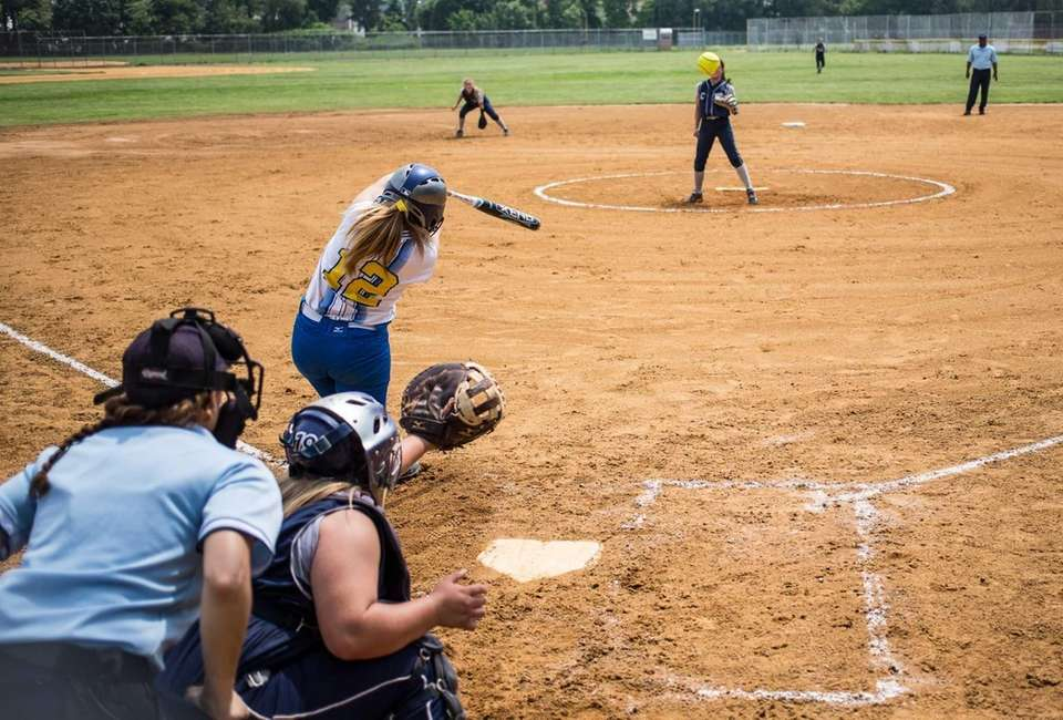 Kellenberg's Stephanie Staiano singles in the fourth inning